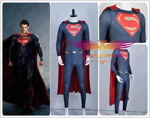 DC Comics Superhero Superman Man of Steel Clark Kent Kal-El Super Man Spandex Jumpsuit with Cloak Cosplay Costume