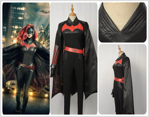 DC Comics TV Batwoman Kathy Kane Black Jumpsuits Cosplay Costume Custom Made for Adult Women Carnival Halloween Version A