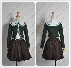 Danganronpa Chihiro Fujisaki Cosplay Costume Green Top Jacket Dress Skirt Uniform Outfit Cosplay Costume