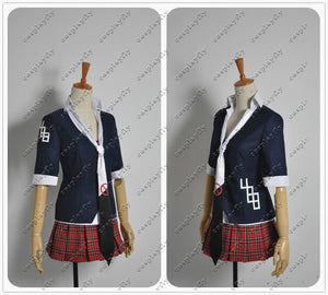 Danganronpa Junko Enoshima Prohibition Symbol Mark Sign Cosplay Costume Dress Skirt Women Clothing Outfit For Adult Tie Hairpin