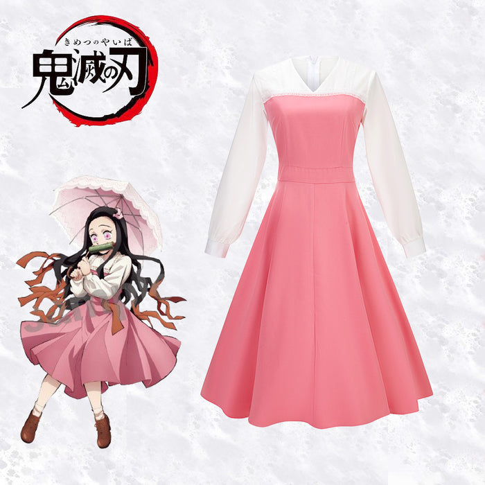 Demon Slayer: Kimetsu no Yaiba Kamado Nezuko Pink Dress For Halloween Carnival