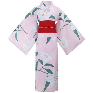 Demon Slayer: Kimetsu no Yaiba Kamado Nezuko Summer Pink Flower Printed Kimono Cosplay Costume Halloween Carnival
