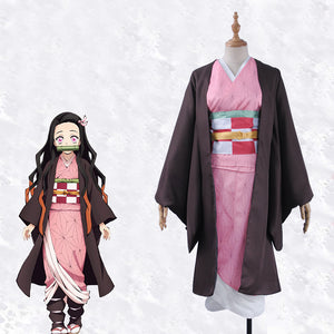 Demon Slayer: Kimetsu no Yaiba Kamado Nezuko Kimono Cosplay Costume for Halloween Carnival