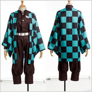 Demon Slayer: Kimetsu no Yaiba Kamado Tanjirou Cosplay Costume Custom Kimono Jacket Belt Coffee Turtleneck Uniform Shorts