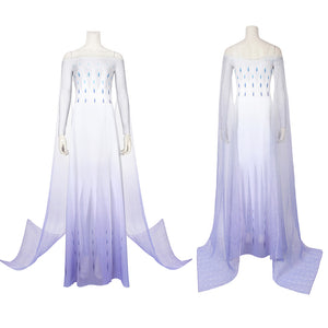 Disney Anime Movie Frozen 2 Princess Elsa White Purple Party Dress Cosplay Costume Halloween Carnival