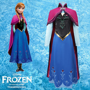 Disney Frozen Princess Anna Adventure Cosplay Costume Full Set Outfit
