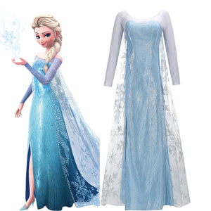 Disney Frozen Princess Elsa Battle Suit Blue Snow Queen Cosplay Costume