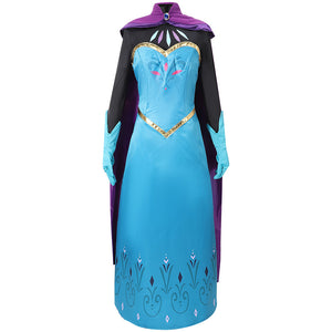Disney Frozen Princess Elsa Coronation Snow Queen Cosplay Costume Full Set Outfit