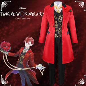 Disney Twisted-Wonderland Ghost Marriage Riddle Rosehearts Red Uniform Cosplay Costume