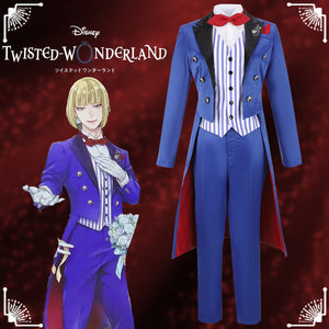 Disney Twisted-Wonderland Ghost Marriage Rook Hunt Blue Uniform Cosplay Costume for Halloween Carnival