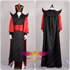 "Disney Anime Movie Aladdin from ""The Thousand and One Nights"" Wizard Villain Jafar Cosplay Costume Custom For Adult with Hat"