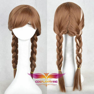 Disney Anime Movie Frozen Anna Cosplay Wig Braid Cosplay for Adult Women Halloween Carnival