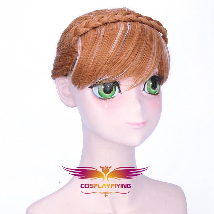 Disney Anime Movie Frozen Anna Cosplay Wig Brown Flaxen Hair Cosplay for Adult Women Halloween Carnival