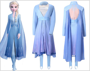 Disney Frozen 2 Princess Elsa Cosplay Costume Sexy V Neck Blue Snow Printed Long Sleeve Summer Dress