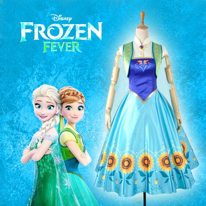 Disney Frozen Fever Princess Anna Cosplay Costume Full Set Outfit