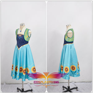 Disney Frozen Fever Princess Anna Cosplay Costume Full Set Outfit Child Version