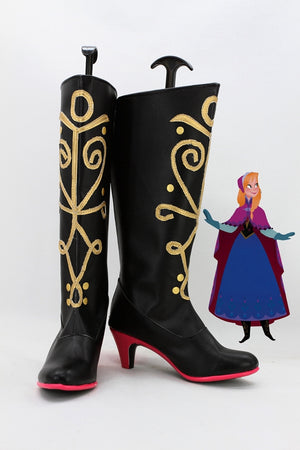 Disney Movie Frozen Anna Cosplay Shoes Boots Custom Made for Adult Men and Women