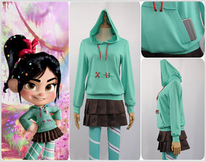 Disney Child Version Wreck-It Ralph 2 Vanellope von Schweetz Hoodie/Skirt/Leggings Ralph Breaks the Internet Cosplay Costume