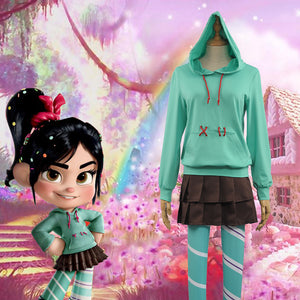 Disney Wreck-It Ralph 2 Vanellope von Schweetz Hoodie/Skirt/Leggings Ralph Breaks the Internet Cosplay Costume