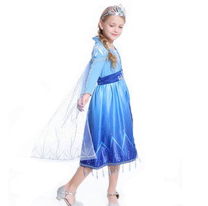 2019 New Disney Frozen 2 Princess Aisa Elsa Child Version Blue Cosplay Costume for Halloween Carnival