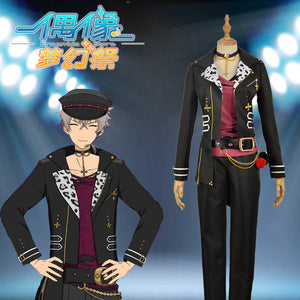 Ensemble ES Oogami Koga Black Uniform with Hat Cosplay Costume Custom Made for Boys Adult Men Outfit Carnival Halloween
