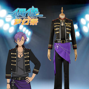 Ensemble Stars ROCKIN' STAR UNDEAD Otogari Adonis Black and Purple Stage Cosplay Costume Men Outfit