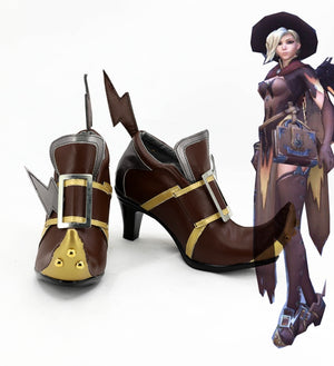 FPS Game OW Overwatch Mercy Angela Ziegler Cosplay Shoes Boots Custom Made for Adult Men and Women Halloween Carnival