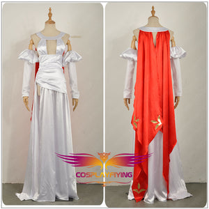 Fate/Apocrypha Saber Cosplay Costume Custom Dress with RED Long Cloak Skirt Woman Adult Girl Clothing