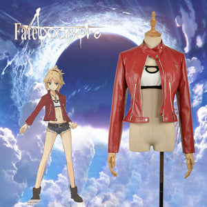 Fate/Apocrypha saber Mordred Cosplay Costume Faux Leather Long Sleeve Red Jacket for Woman Adult