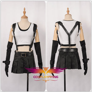 Final Fantasy VII Remake Tifa Cosplay Costume Girl Sleeveless Top Black Tired Skirt Custom Made