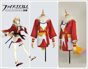 Fire Emblem Fates Selkie Kinu Fancy Cosplay Costume Girl Red Kimono Skirt Yellow Tail and Ears Hairpin Armlet
