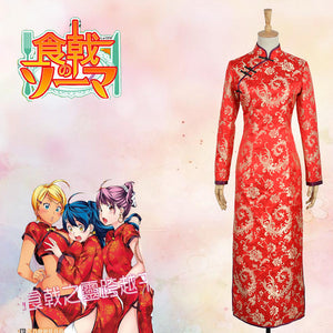 Food Wars: Shokugeki no Soma Megumi Tadokoro Cheongsam Cosplay Costume Custom Made for Girls Adult Women Outfit Carnival Halloween