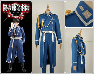 FullMetal Alchemist Roy Mustang Army Uniform Cosplay Costume Top Jacket Pants Men Outfit Clothing Adult with White Gloves