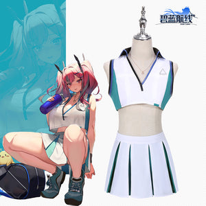 Game Azur Lane USS Bremerton ssn-698 Cosplay Costume Simple Version Croped Tops Skirt Halloween Carnival