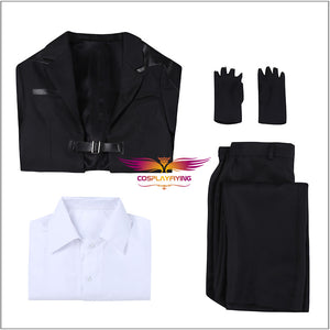 Game Final Fantasy VII Remake Reno Cosplay Costume Black Coat Halloween Carnival Adult Outfit