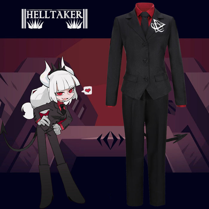 Game Helltaker lucifer Black Uniform Cosplay Costume Custom Made Halloween Carnival Party