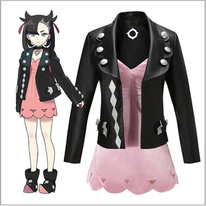 Game Pokemon Sword/Shield Marnie Cosplay Costume Leather Coat Custom Made Halloween Carnival Party