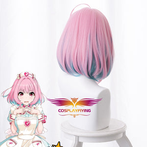 Game Anime The Idolmaster Cinderella Girls Yumemi Riamu 38cm Pink Mixed Blue Short Bobo Cosplay Wig Cosplay for Girls Adult Women Halloween Carnival Party