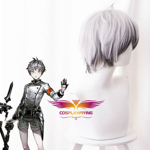 Game Arknights Mephisto Silver Mixed Grey Short Cosplay Wig Cosplay for Boys Adult Men Halloween Carnival Party