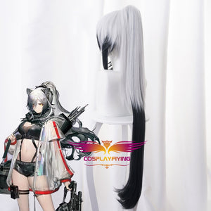 Game Arknights Schwarz White Mixed Black Long Horsetail Cosplay Wig Cosplay for Girls Adult Women Halloween Carnival Party