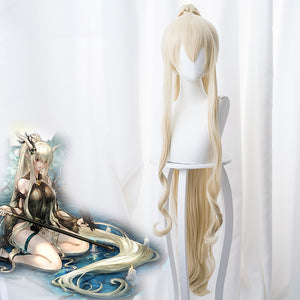 Game Arknights Shining Blonde Long Curls Horsetail Cosplay Wig Cosplay for Girls Adult Women Halloween Carnival Party