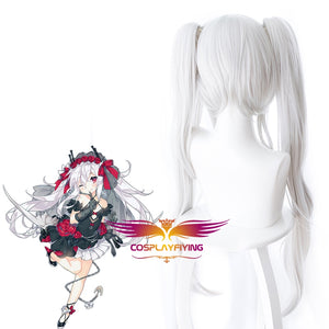 Game Azur Lane Vampire Silver White Horsetail Long Cosplay Wig Cosplay for Adult Women Halloween Carnival