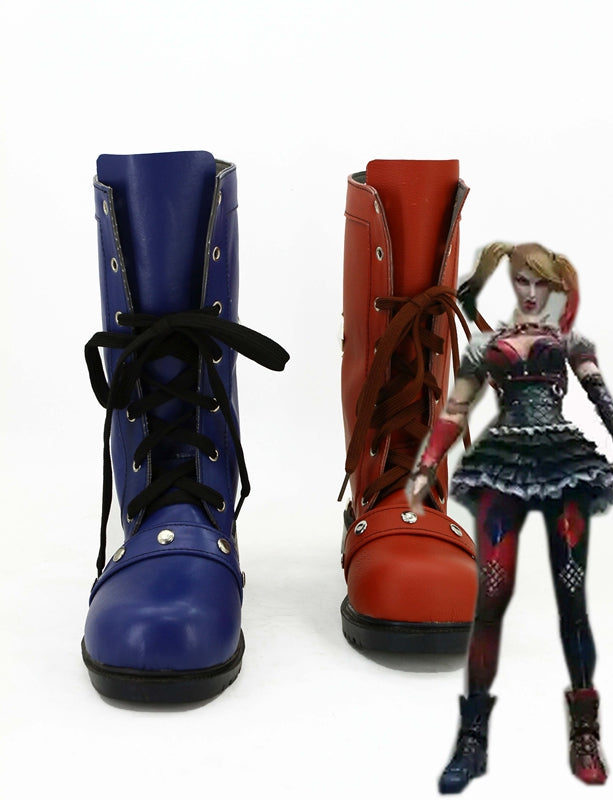 Game Batman: Arkham Knight Harley Quinn Red Blue Cosplay Shoes Boots Custom Made for Adult Men and Women