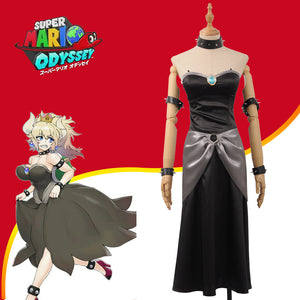 Game Bowsette Kuppa Koopa Hime Princess Girls Stage Party Black Satin Dress Cosplay Costume for Carnival Halloween