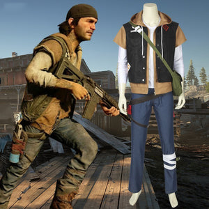 Game Days Gone Deacon St. John Bounty Hunter Cosplay Costume Fell Set with Hat Bag for Halloween Carnival