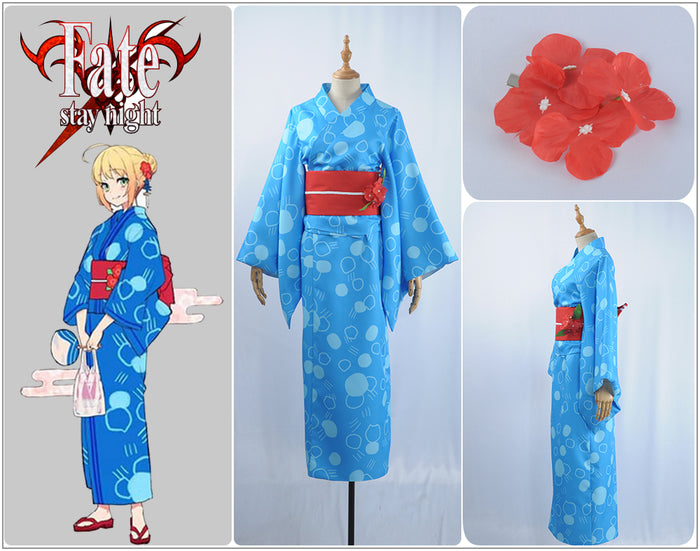 Game FGO×Google Play Saber Bathrobe Kimono Cosplay Costume Clothing For Adult