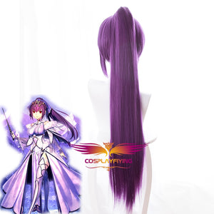 Game Fate/Grand Order FGO Lancer Scathach Purple Long Straight Ponytails Cosplay Wig Cosplay for Adult Women Halloween Carnival