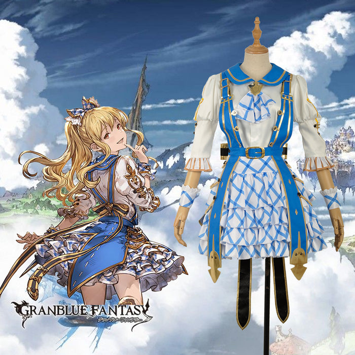 Game Granblue Fantasy Villa Vela Embroidery Cosplay Costume Custom Made for Girls Adult Women Halloween Carnival Party Outfits