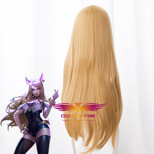 Game KDA League of Legends(LOL ) Ahri The Nine-Tailed Cosplay Wig 80cm with Ears Cosplay for Adult Women Halloween Carnival