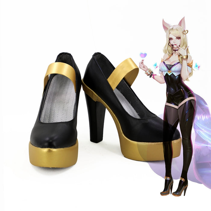 Game LOL League of Legends the Nine-Tailed Fox Ahri Cosplay Shoes Boots Custom Made for Adult Men and Women Halloween Carnival